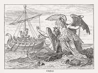 Ulysses (Odysseus) and the Sirens. Scene from the Greek Mythology. Wood engraving, published in 1880.